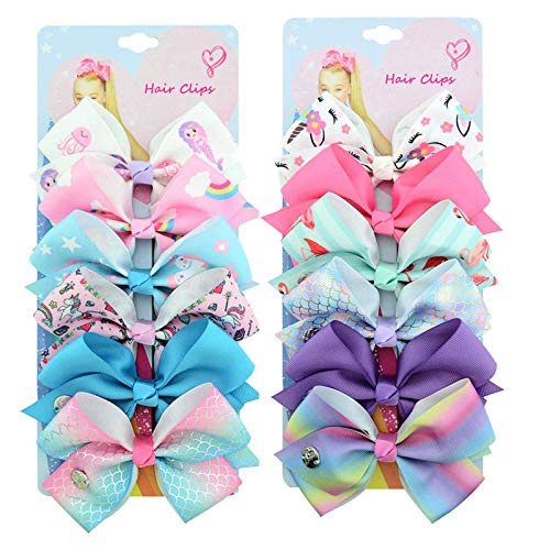 12Pcs/Set Kalolary Hair Bows Alligator Clips for Girls Gift, 5 Inches Unicorn Grosgrain Ribbon Hair Barrettes…