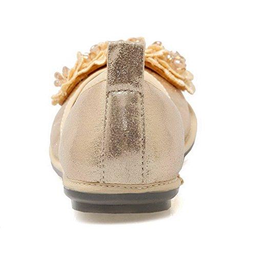 AalarDom Mujer Mini Tacón Material Suave Sólido De salón con Diamantes Sintéticos Gold-Flores