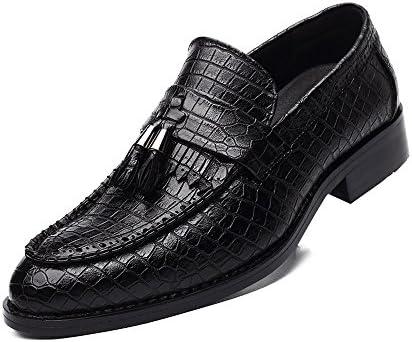 ヘビ皮テクスチャアッパーローファースリップオン並ぶオックスフォードメンズPUレザーブロックヒールの靴 快適な男性のために設計