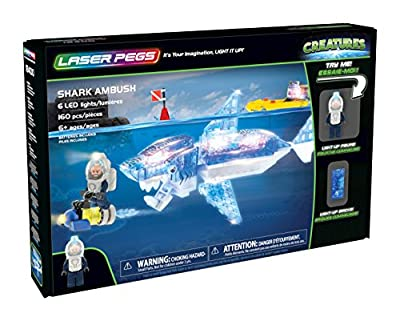 Laser Pegs Shark Ambush Light-Up Building Block Playset (160 Piece) The First Lighted Construction Toy to Ignite Your Child's Creativity; It's Your Imagination, Light It Up