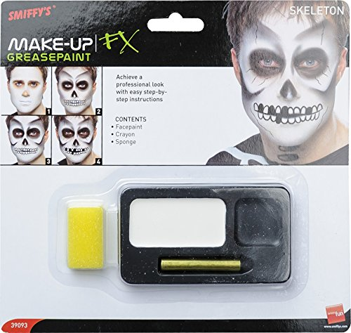 Smiffy's Skeleton Face Paint Kit With Crayon & Sponge Black One Size