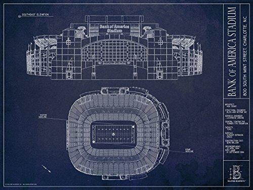 Bank of America Stadium Ballpark Blueprints 18x24