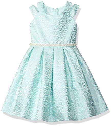 Bonnie Jean Big Girls' Brocade Party Dress, Aqua, 16