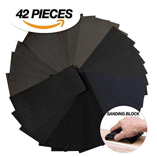 Sandpaper and sanding block kit ,42 Piece 120 to 3000 Grit sandpaper assorted, Wet and dry sandpaper sheets 9 X 3.6 inch,Abrasive paper WITH A Heavy Duty Rubber Sandpaper Block by Cerasonic