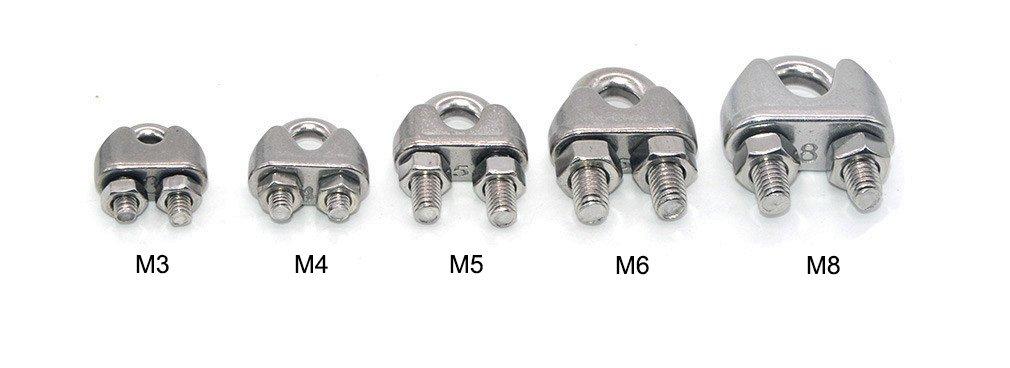 10 pcs Edelstahl Kabel-Clip Sattelkloben Drahtseil Kabelklemme Verschluss f/ür 8 mm Draht Seile