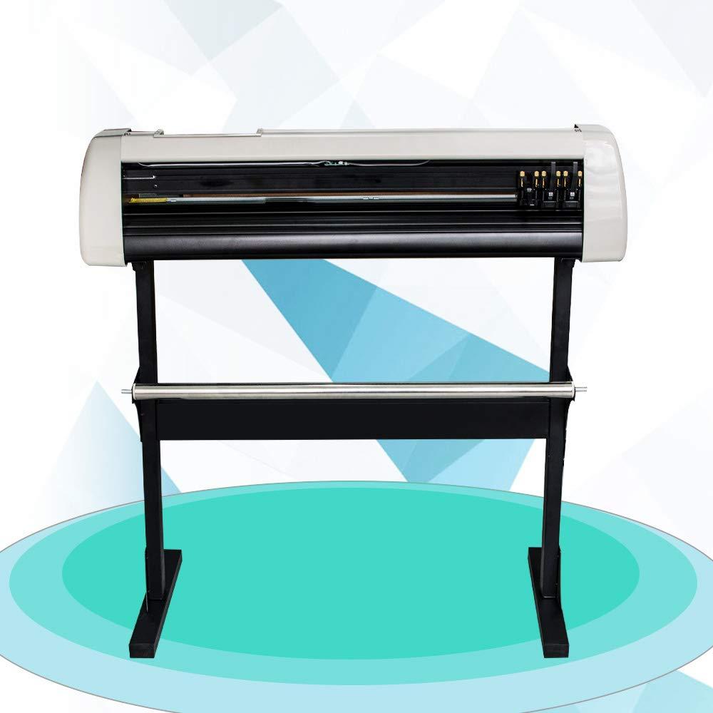 Plotter Machine, Denshine 33 Inch Plotter Machine 850mm Paper Feed Vinyl Cutter Plotter LCD Display Sign Cutting Plotter Machine with Stand