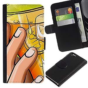 Be Good Phone Accessory // Caso del tirón Billetera de Cuero Titular de la tarjeta Carcasa Funda de Protección para Apple Iphone 6 4.7 // Cocktail Hand Lemon Nails Art Drawing Party