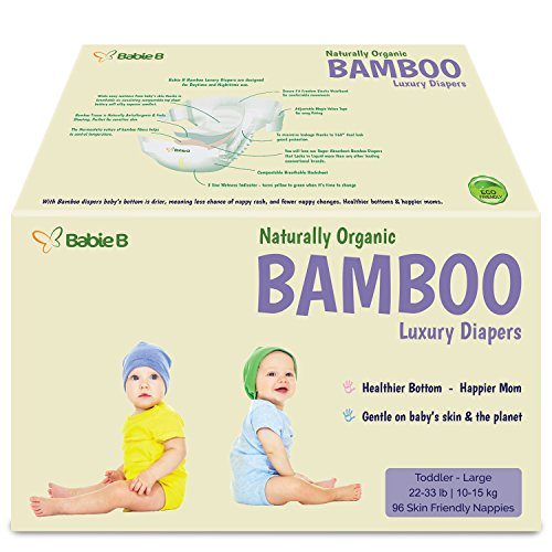 Bamboo Eco-Friendly Disposable Diapers Natural Hypoallergenic Soft w/Wetness Indicator Wicks Away Moisture to Keep Your Infant Toddler Dry & Happy Size 4-5 96ct for Sensitive Skin 22-33lb Value/Pack