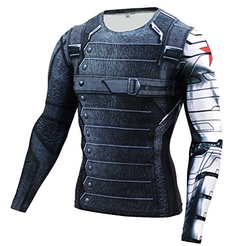 [Men's Compression Shirt Sports Jogging Fitness Winter Soldier Printed Tee M] (Winter Running Costume)