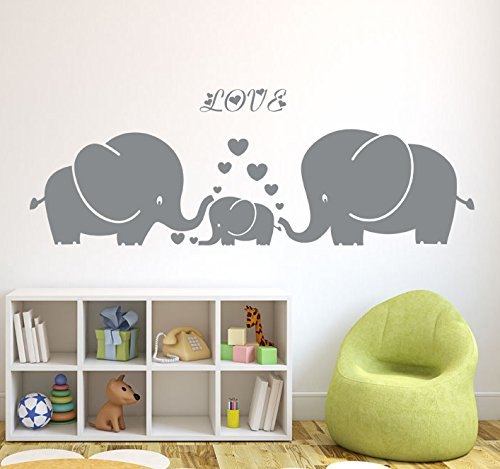 Elephant Family Hearts Decals Nursery