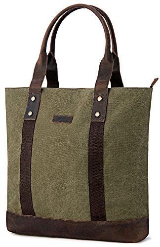 Tote Bag, GRM Canvas Large Size Shoulder Bag Leather Handbag Work Bags for Travel Business Work School
