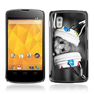 YOYOSHOP [Cute Hamster & Earphones] LG Google Nexus 4 Case