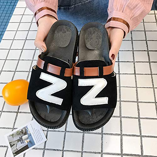 Sandales Femme Chaussons Les pour Jardin PU 08031 Pantoufles Chaussures KJJDE D'été Tous Black LJXY De Premier Sports Plage wqS0EFA