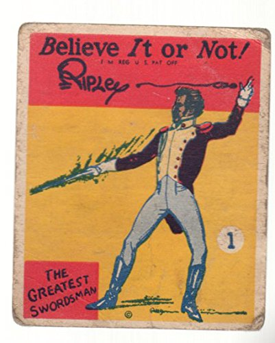 1937 Wolverine Gum Ripley's Believe It Or Not (Non-Sports) Card# 1 The Greatest Swordsman Good Condition