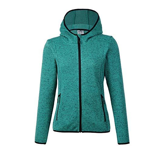 (BELE ROY Women's Knit Jacket Active Outdoor Full-Zip Coat Fleece Lined(Green-1 XL))