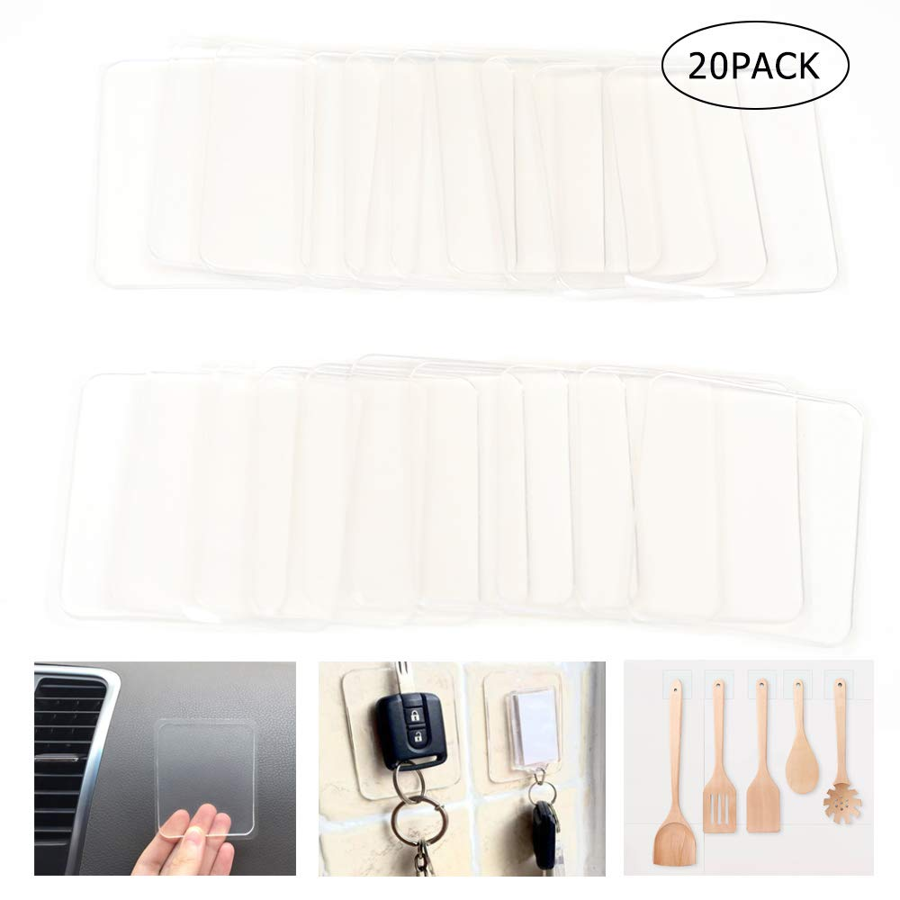 20PCS Sticky Silicone Gel Pads Transparent Multipurpose Gripping Pads for Car,Home,Cell Phone and Accessories.Easy Remove,Stick to Anywhere (20pack Sticky) by Laabeimat