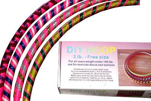 Sports-Hoop-DIY-Hoop-2B-18lb-Dia405-Large-Exercise-Hula-Hoop-Pink-2-tapes-included