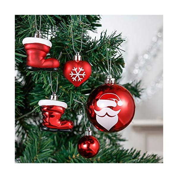 Valery Madelyn Palle di Natale 50 Pezzi di Palline di Natale, 3-5 cm Decorazione Tradizionale Rossa e Bianca Infrangibile con Palle di Natale per la Decorazione Dell'Albero di Natale 4 spesavip