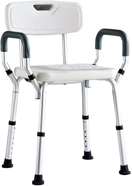 6 Height Adjustable Elderly Bath Chair with Armrest and Backrest BEAUTY--shower stool Pregnant Woman Non-Slip Shower Chair