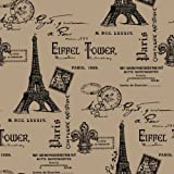 Springs Creative - Fabric Burlap Prints Paris Eiffel Tower Fabric, Sold by The Yard, 47/48-Inch, Black
