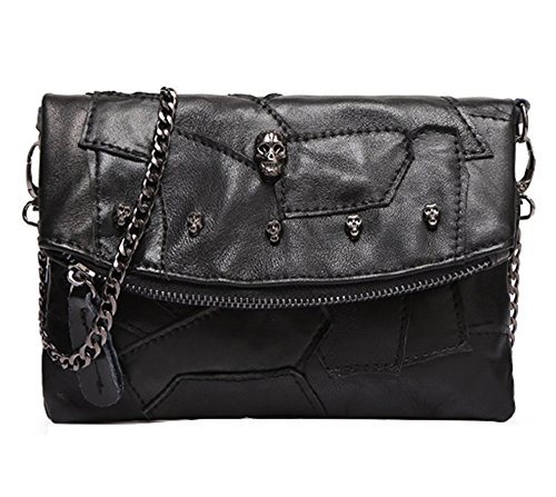 Sibalasi-Women Colorblock Lambskin Leather Multicolor Crossbody Bag Black Handbag Halloween Skull Studded Purse(Black) (Fold Flap Over Studded)