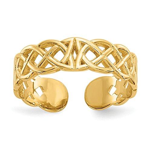 Celtic Ring Toe 14k (14k Yellow Gold Irish Claddagh Celtic Knot Adjustable Cute Toe Ring Set Fine Jewelry For Women Gift Set)