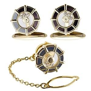 Chopard Happy Diamonds 18K Yellow Gold Cufflinks and Tie Tag Set