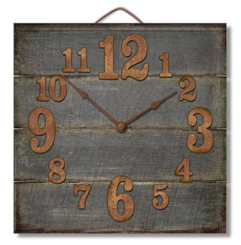 Highland Graphics Rustic Weathered Grey Wooden Wall Clock (Clock Antique Wall Parts)