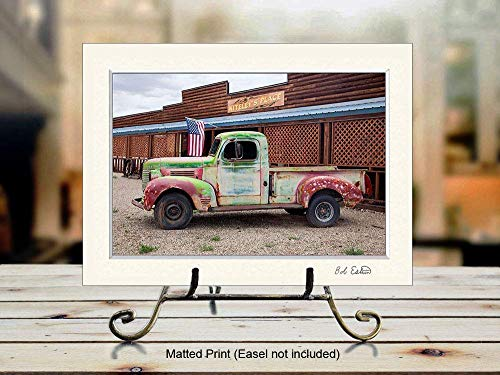 Amazon Com Wall Art Decor Photograph Of Old Rusty Truck And American Flag On Country Road Handmade