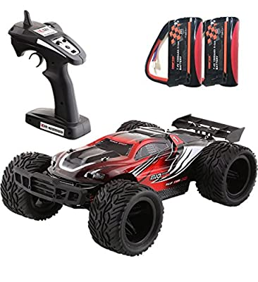SHARPTECK RC Car 1:12 Scale 35km/h 4x4 Fast Race Car Racing 4WD Electric Buggy Off Road Truck W/2.4G Radio Remote Control LED Night Vision RTR Red + Extra 7.4V 1500mAh Car Battery