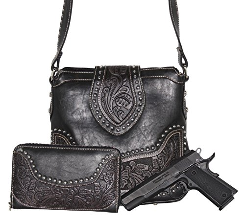 Concealed Carry Tooled Messenger Purse and Wallet - Concealment Weapon Gun Bag - Tooled Crossbody Bag with Matching Wallet by Montana West (Black) - Concealment Crossbody