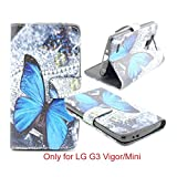 G3 Vigor/Mini Case, Jenny shop [Stand Feature] Premium PU Leather Wallet Flip Protective Cover Case with Built-in Card Slots and Money Pocket, Magnetic Closure ONLY for LG G3 Vigor/Mini 5 Inch Screen Smartphone (Blue Butterfly)