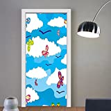 Gzhihine custom made 3d door stickers Spring Fluffy Clouds and Colorful Butterflies Flying in the Air Summer Season Image Sky Blue White For Room Decor 30x79