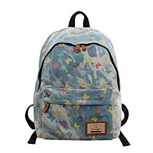 Denim School Backpack, Unisex Student Bookbags,Casual Laptop Bag for Teenage