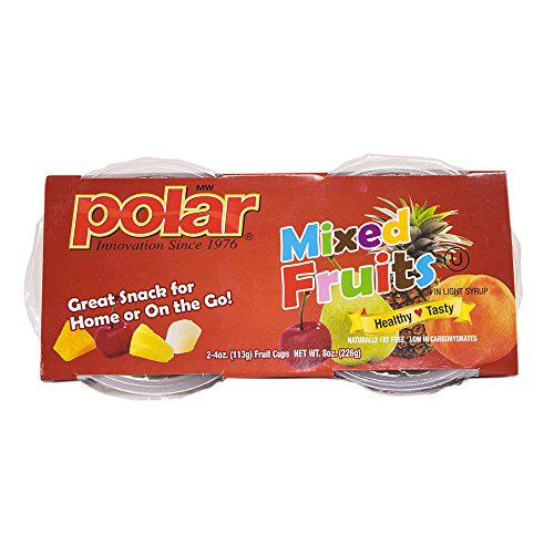 Halves Fruit (MW Polar Fruit Cup, Diced Mixed Fruit with Cherry Halves in Light Syrup, 4-Ounce (Pack of 12))