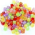 Lot 200 Abalorios Plástico Alfabeto Letras Cubo Cuadrados