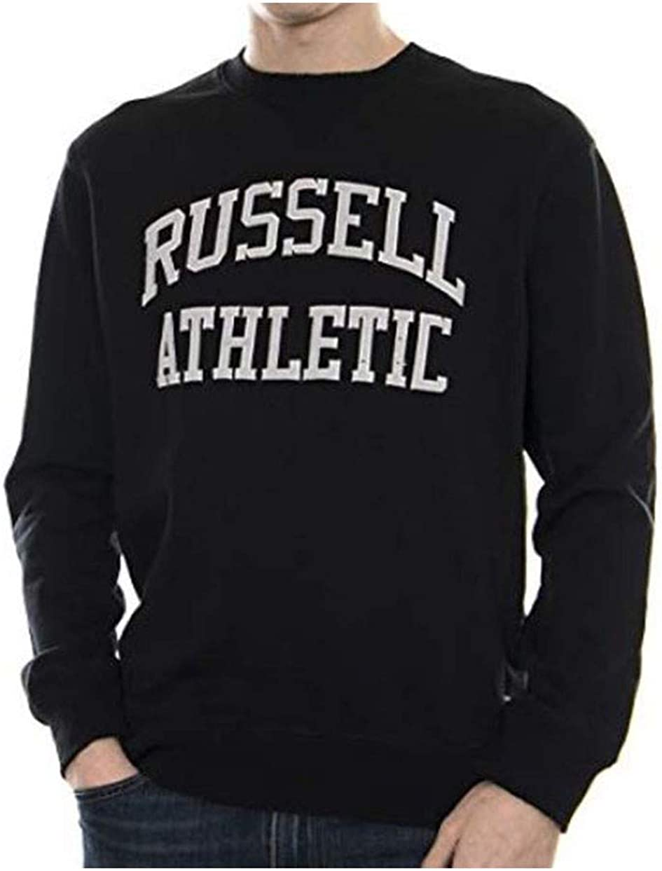 1015K felpa uomo RUSSELL ATHLETIC dark grey melange heavy cotton sweatshirt man