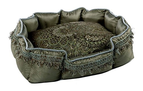 Croscill Royal Pet Bed, Soft Pillow Bed in Sage Paisley Pattern for Small and Medium Dogs (Beds Medium Pet Paisley)