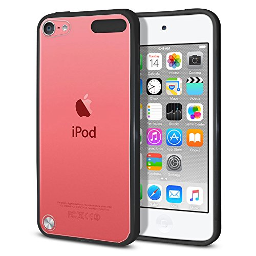 Fincibo (TM) Slim Shock Absorbing Hybrid TPU Bumper Silicone + Clear Hard Back Protective Cover Case For Apple iPod Touch 5 (5th Generation) iPod Touch 6 (6th Generation), Clear/Black ()