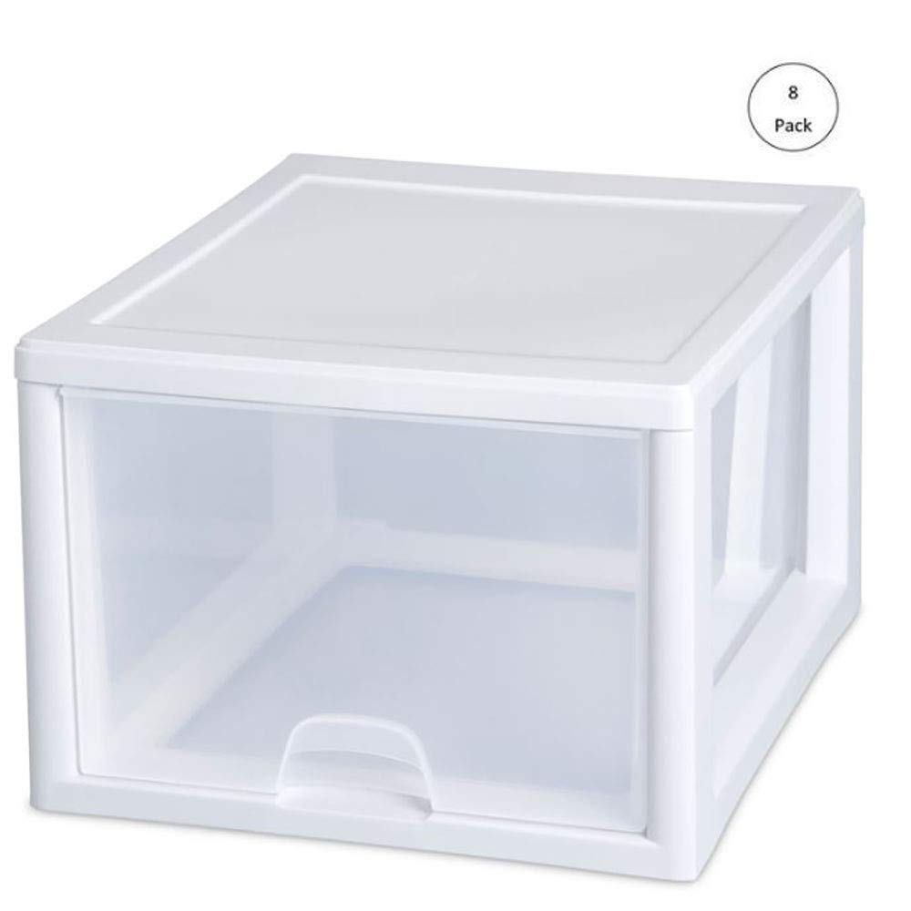 Sterilite 2310 27-Quart Single Stacking Drawer, Clear (8 Pack) by STERILITE