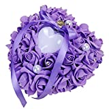 ZYLLGF Wedding Heart Ring Box Ring Holder with Pearl Bridal Ring Bearer Pillow Party Favor (Purple)