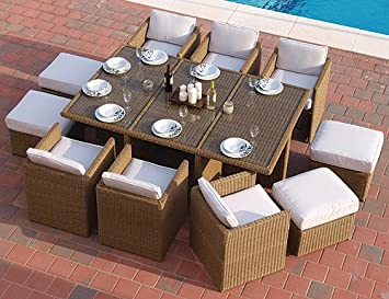 Deluxe Cube Dining Set in 4 line black weave colour   10 seat