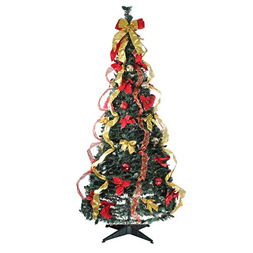 Northlight 6' Pre-Lit Gold and Red Decorated Pop-Up Artificial Christmas Tree - Clear Lights