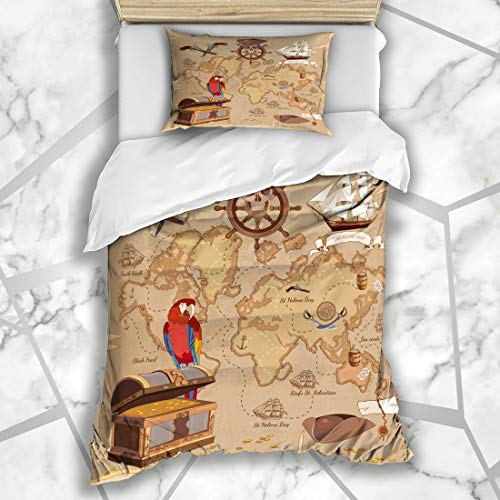Ahawoso Duvet Cover Sets Twin 68X86 Roger Adventure Old Pirate Treasure Map Chest Parchment Parks Vintage Anchor Ancient Scroll Antique Microfiber Bedding with 1 Pillow Shams ()