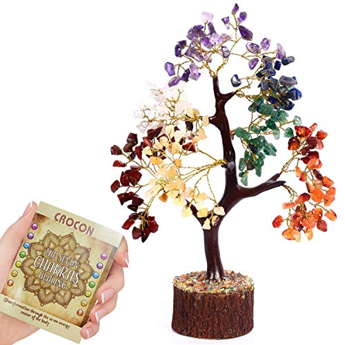 (Crocon Natural Healing Gemstone Crystal Bonsai Fortune Money Tree for Good Luck, Wealth & Prosperity Spiritual Gift Size 10-12 Inch (Seven Chakra (Golden)