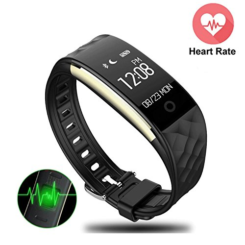 Mini Kitty Fitness Tracker Heart Rate Monitor S2 Smart Wristband IP67 Waterproof Swimming,GPS Bicycling Tracker Smart Bracelet For Android IOS Phone,IPad(Black)