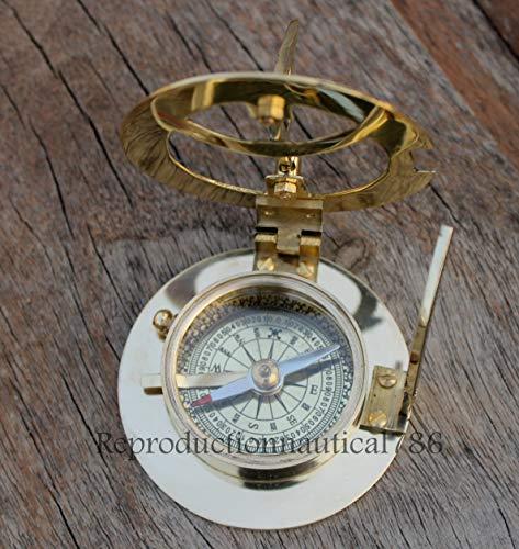 (Solid Brass Compass Maritime Nautical Astrolabe Marine Ship Instrument Compass G)