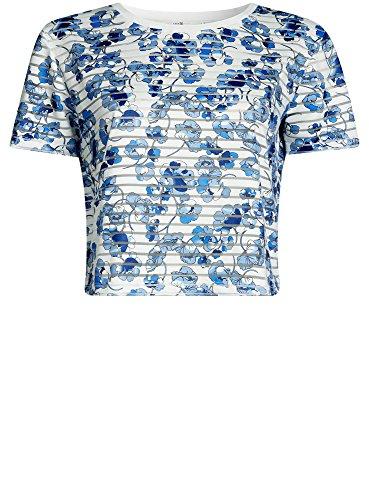 oodji Ultra Mujer Camiseta Recortada de Tejido a Rayas Blanco (1275F)