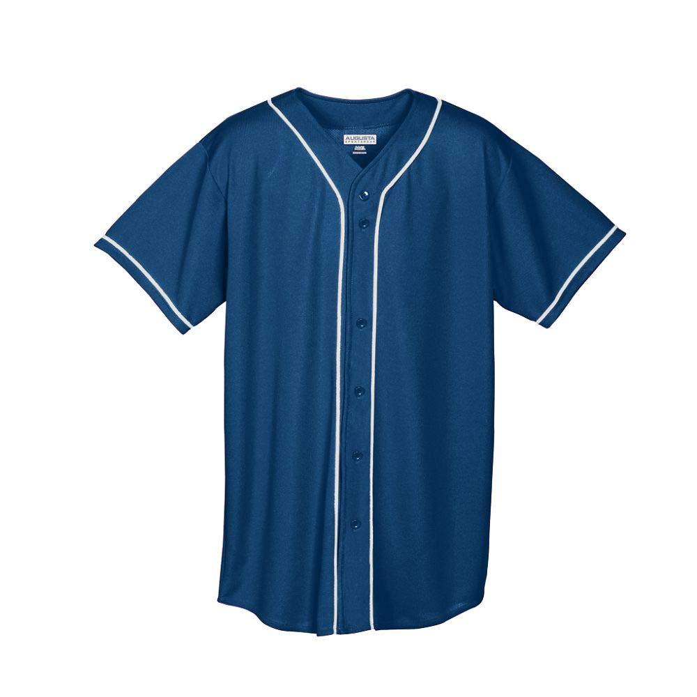 Augusta Sportswear Augusta Wicking Mesh Button Front Jersey with Braid Trim, Navy/White, Large by Augusta Sportswear