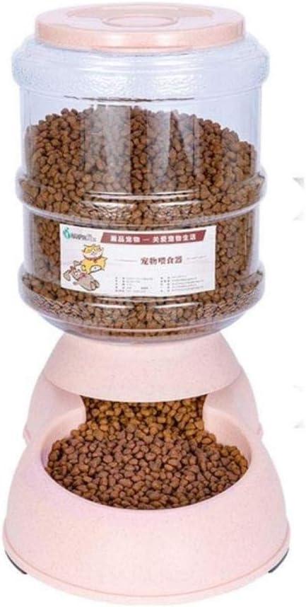 QISANFNDSGJ Máquina expendedora de Mascotas para Gatos de 3,75 l, Botella de Agua de plástico para Comida para Perros, Fuente para Beber, Cuenco de alimentación para Gatos y Perros, alimentador Rosa
